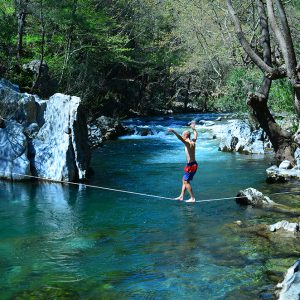 Great river for slack lining in Akcay, Turkey