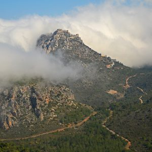 A castle on the top of the mountain in Northern Cyprus