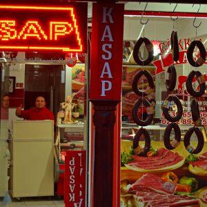 A guy in the meat shop in Turkey