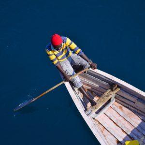 Rowing deep blue Lake Malawi