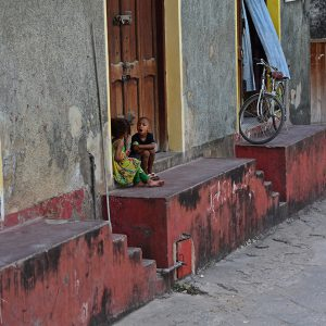 Kids by the side of the road in Zanzibar
