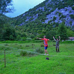 Free time slack lining in Virpazar, Montenegro