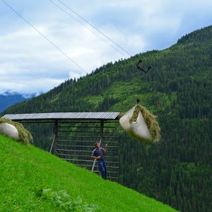 People living on the top of the steep hill in Austrian alps