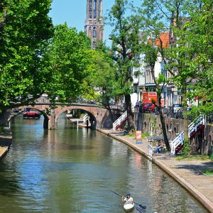 Canoeing through Utrecht, Holland