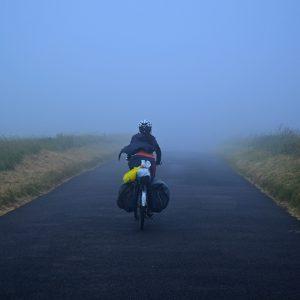 Crazy wind, mist, and dark.Dover in England.