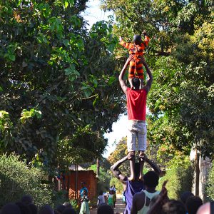 Acrobatic show at the village in Zambia by local young guys.