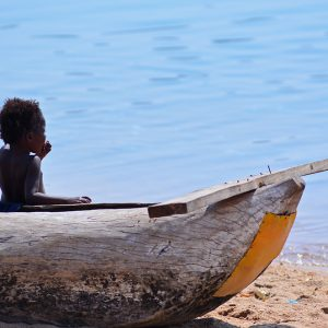 Baby chilling out in Lake Malawi