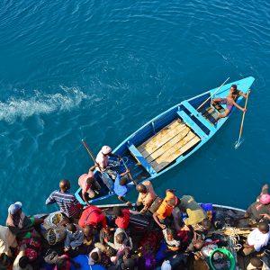 Crowded boat in Lake Malawi