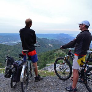 Cycling up a mountain with our friend, Paolo in Northern Cyprus