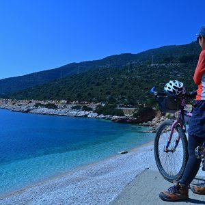 Deep blue beach in Turkey in March